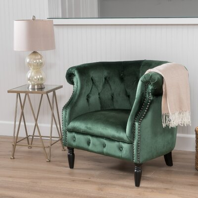 Lenita Chesterfield Chair Upholstery: Emerald