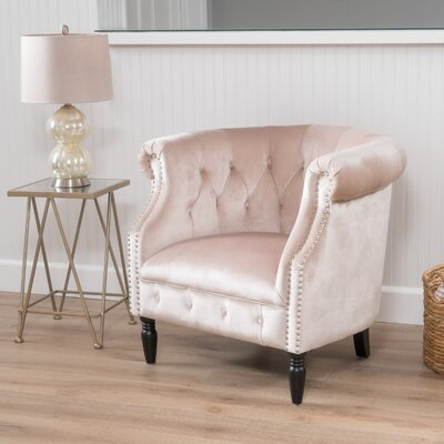Lenita New Velvet Chesterfield Chair Upholstery: Champagne