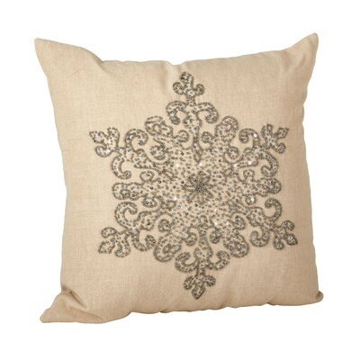 Faversham Snowflake Beaded 100% Cotton Throw Pillow Color: Pewter