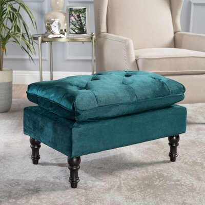 Karlyn Ottoman Upholstery: Teal