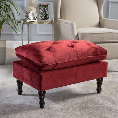 Karlyn Tufted New Velvet Ottoman Upholstery: Garnet