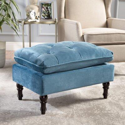 Karlyn Tufted New Velvet Ottoman Upholstery: Aqua