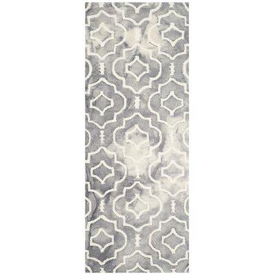 Berman Dip Dye Gray/Ivory Area Rug Rug Size: Runner 23 x 6