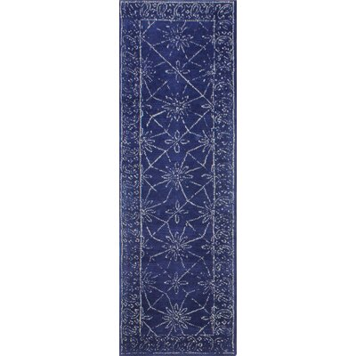 Prescot Hand-Tufted Wool Navy Area Rug Rug Size: Runner 26 x 8