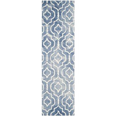 Berman Dip Dye Blue/Ivory Area Rug Rug Size: Runner 23 x 8