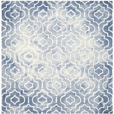 Berman Dip Dye Blue/Ivory Area Rug Rug Size: Square 7
