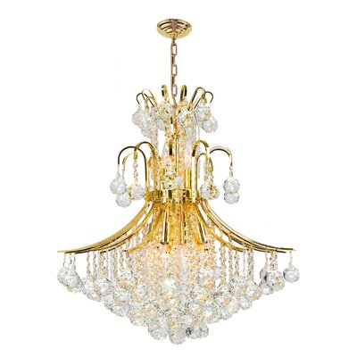 Carson 11-Light Crystal Chandelier Finish: Gold
