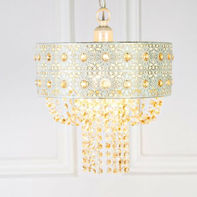 Overton Jeweled Blossoms 1-Light Drum Pendant