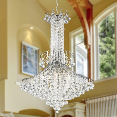 Carson 16-Light Crystal Chandelier Finish: Chrome