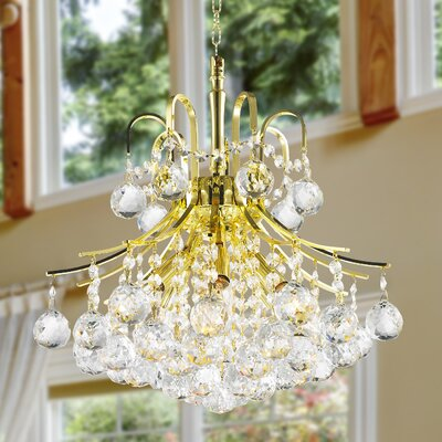 Carson 6-Light 60W Crystal Chandelier Finish: Gold