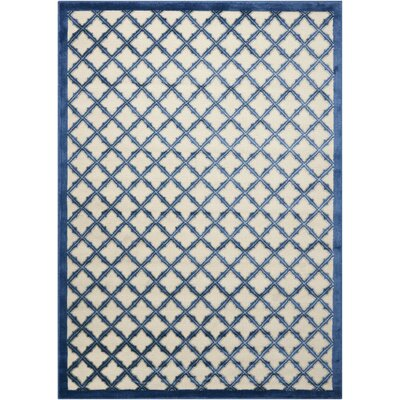 Hartz Ivory/Blue Area Rug Rug Size: Rectangle 5'3