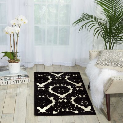 Hartz Ivory/Black Area Rug Rug Size: Rectangle 26 x 4