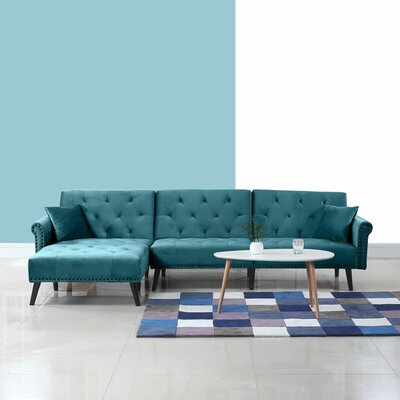 Salcombe Reversible Sleeper Sectional Upholstery: Teal