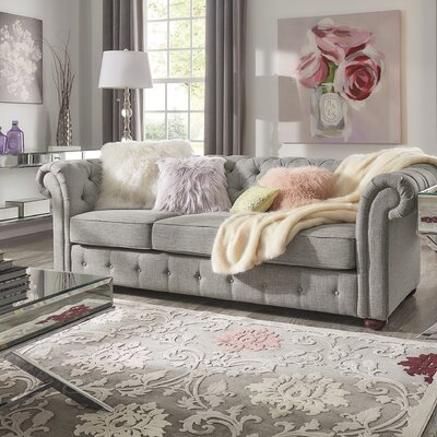 Vegard Tufted Chesterfield Sofa Upholstery: Gray