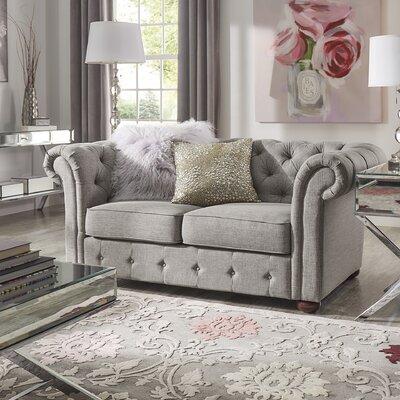 Vegard Tufted Chesterfield Loveseat Upholstery: Gray