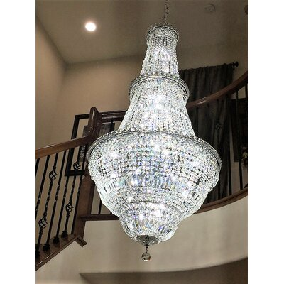 Carson 34-Light Crystal Chandelier Finish: Chrome