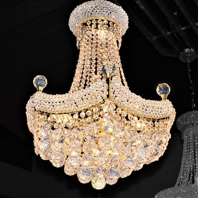 Carson 12-Light Crystal Empire Chandelier Finish: Gold