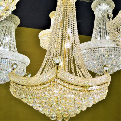 Carson 18-Light Crystal Empire Chandelier Finish: Gold