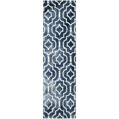 Berman Hand-Tufted Navy/Ivory Area Rug Rug Size: Runner 23 x 12