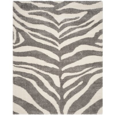 Laplaigne Shag Ivory/Gray Area Rug Rug Size: Rectangle 9 x 12