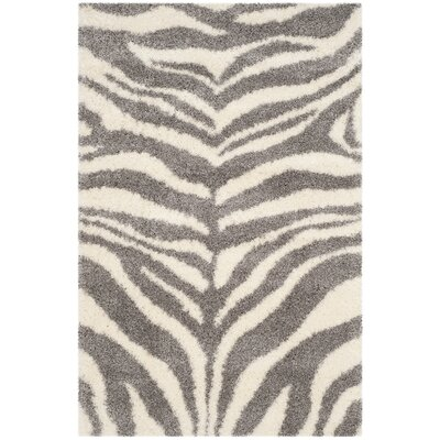 Laplaigne Shag Ivory/Gray Area Rug Rug Size: Rectangle 4 x 6