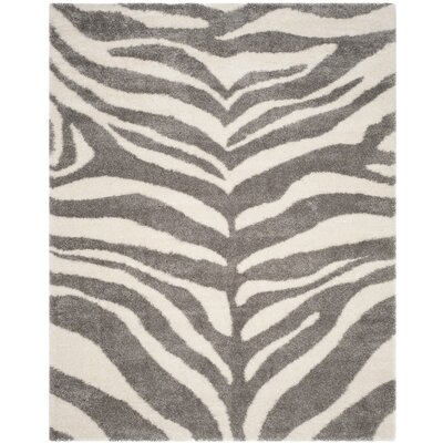 Laplaigne Shag Ivory/Gray Area Rug Rug Size: Rectangle 8 x 10
