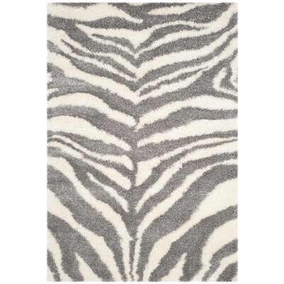 Laplaigne Shag Ivory/Gray Area Rug Rug Size: Rectangle 51 x 76