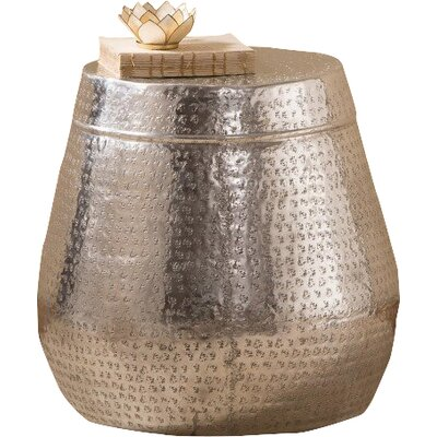 Faisan Tall Dimpled Silver Drum End Table