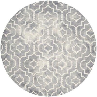 Berman Dip Dye Gray/Ivory Area Rug Rug Size: Round 7
