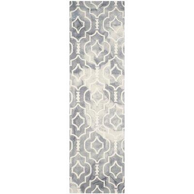 Berman Dip Dye Gray/Ivory Area Rug Rug Size: Runner 23 x 8