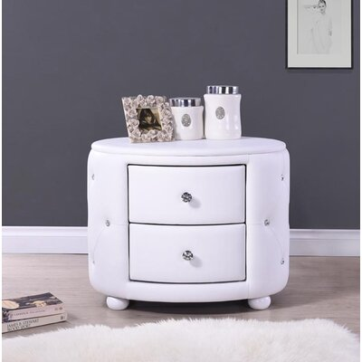 Rundle 2 Drawer Nightstand Color: White
