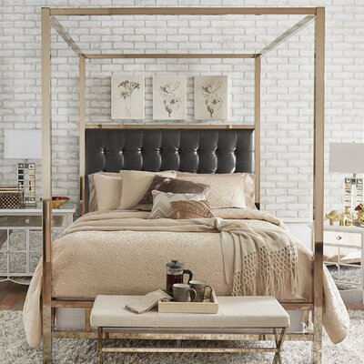 Alek Upholstered Canopy Bed Size: King, Color: Champagne Gold