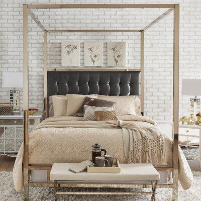 Alek Upholstered Canopy Bed Size: Full, Color: Champagne Gold