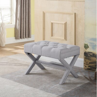 Stapleford Tufted Nailhead Ottoman Upholstery: Gray