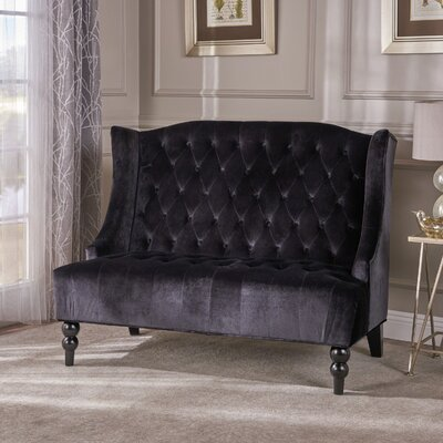 Carolina Standard Loveseat Upholstery: Black