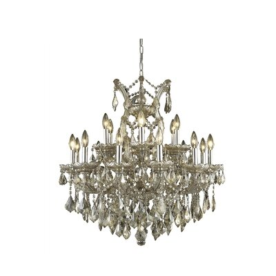 Regina 19-Light Candle-Style Chandelier Finish / Crystal Finish / Crystal Trim: Golden Teak (Smoky) / Strass Swarovski