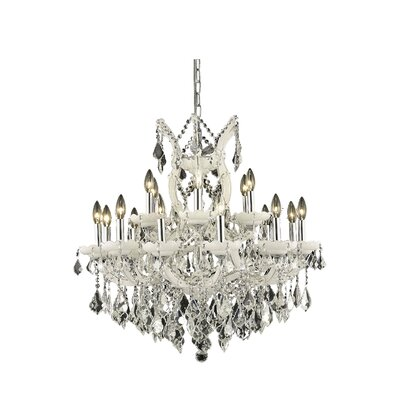 Regina 19-Light Candle-Style Chandelier Finish / Crystal Color / Crystal Trim: White / Crystal (Clear) / Elegant Cut