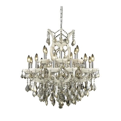Regina 19-Light Candle-Style Chandelier Finish / Crystal Color / Crystal Trim: White / Golden Teak (Smoky) / Strass Swarovski
