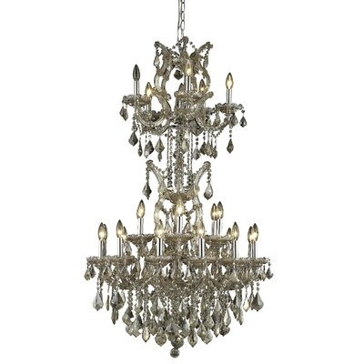 Regina 25-Light Crystal Chandelier Finish / Crystal Finish / Crystal Trim: Golden Teak / Golden Teak (Smoky) / Royal Cut