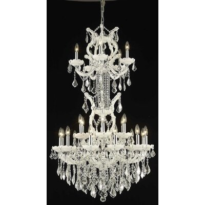 Regina 25-Light Crystal Chandelier Finish / Crystal Finish / Crystal Trim: White / Crystal (Clear) / Elegant Cut