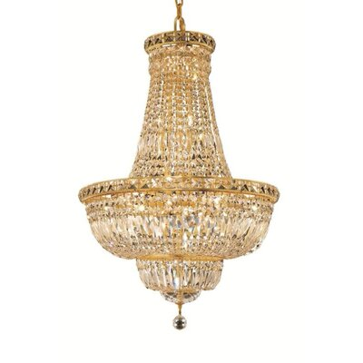 Fulham 22-Light Empire Chandelier Finish: Gold, Crystal Trim: Chrome / Elegant Cut