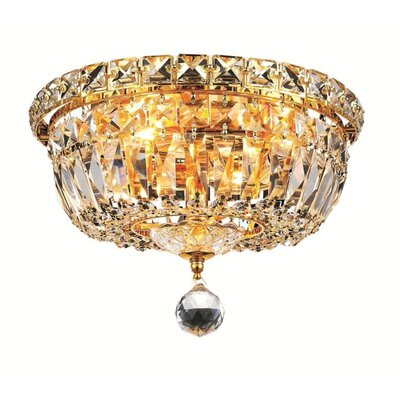Fulham 4-Light 10 Flush Mount Finish: Gold, Crystal Grade: Chrome / Royal Cut