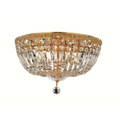 Fulham 8-Light Flush Mount Finish: Gold, Crystal Grade: Chrome / Royal Cut