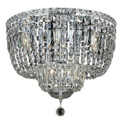 Fulham 10-Light Flush Mount Finish: Chrome, Crystal Grade: Chrome / Elegant Cut