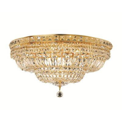Fulham 12-Light Flush Mount Finish: Gold, Crystal Grade: Chrome / Spectra Swarovski
