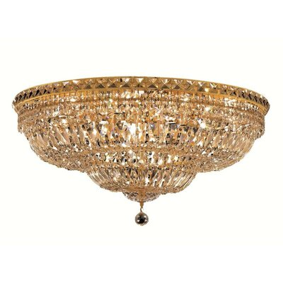 Fulham 18-Light Flush Mount Finish: Gold, Crystal Grade: Chrome / Elegant Cut