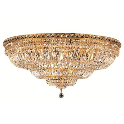 Fulham 21-Light Flush Mount Finish: Gold, Crystal Grade: Chrome / Royal Cut