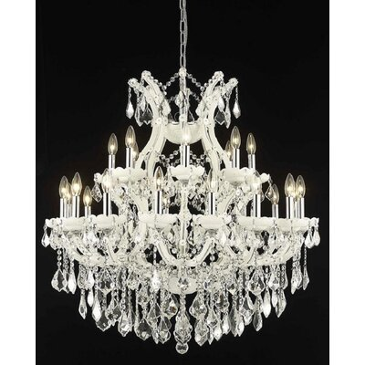 Regina 24-Light Crystal Chandelier Finish / Crystal Finish / Crystal Trim: White / Crystal (Clear) / Elegant Cut
