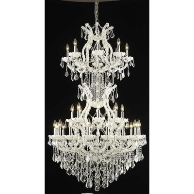 Regina 34-Light Crystal Chandelier Finish / Crystal Finish / Crystal Trim: White / Crystal (Clear) / Elegant Cut