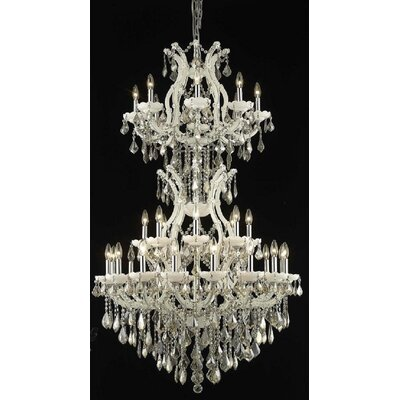 Regina 34-Light Crystal Chandelier Finish / Crystal Color / Crystal Trim: White / Golden Teak (Smoky) / Royal Cut
